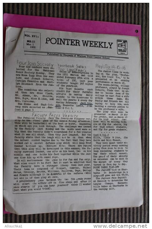 N°22 Maes. 1,1951 U.S.A. POINTER WEEKLY  Publshed By Students Of Whitney Point Central School School Press Association - 1950-Now