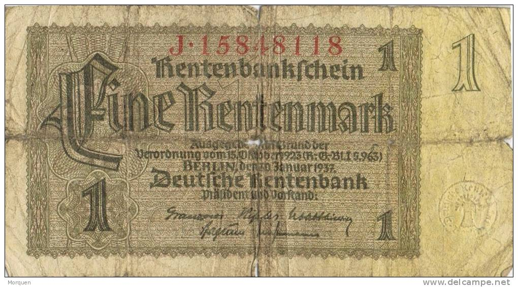 Billete 1 Rentenmark. Alemania Reich 1937 - [ 4] 1933-1945: Derde Rijk
