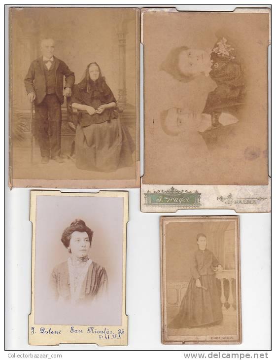 [W20079] España Palma De Mallorca 4 Fotografia Antigua  En Carton C1850 Vestidos Tradicionales Vintage Photo Cabi - Fotos