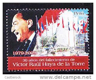 T)PERU 2009,30 YEARS OF DEATH OF VICTOR RAUL HAYA DE LA TORRE, (POLITICIAN),MNH.- - Peru