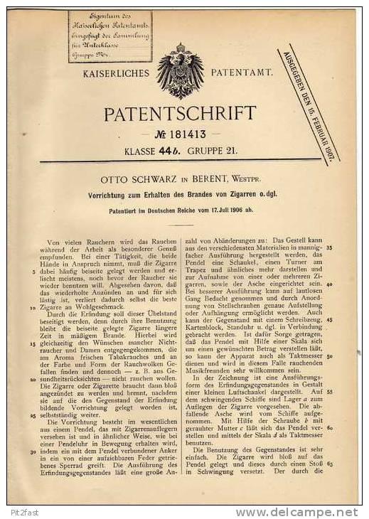 Original Patentschrift - O. Schwarz In Berent , 1906 , Apparat Für Zigarren , Cigarre , Kościerzyna !!! - Documents