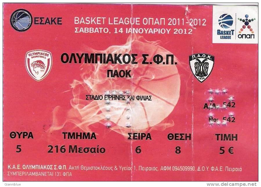 Olympiakos-PAOK Basketball Greek Championship Match Ticket - Tickets D'entrée