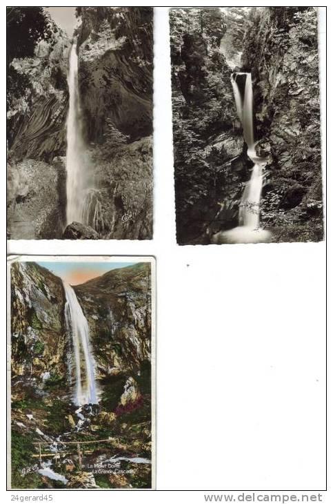 3 CPSM CASCADES EAU - Gorges Du Loup (06), Mégève(74), Le Mont Dore (63)) - Ansichtskarten