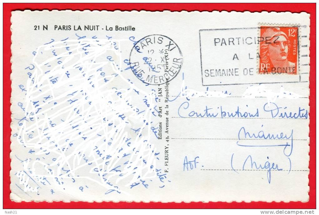 CP De 1951 - Paris La Nuit - La Bastille - De Paris Vers Niamey  - Timbre Type Marianne De Gandon . YT N° 885 - Monuments