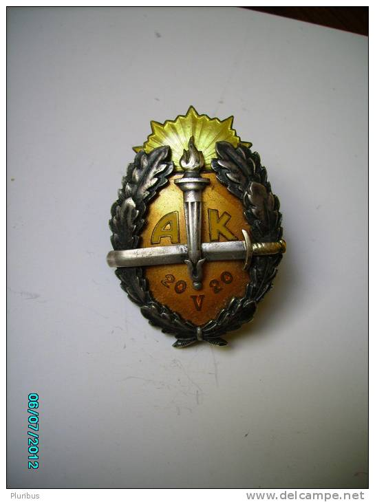 ESTONIA   Pre- WW II  Military  Badge  SCHOOL OF NON-COMMISSIONED OFFICERS BADGE - Army