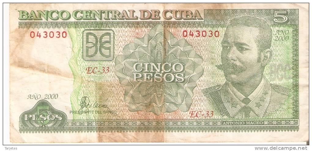 BILLETE DE CUBA DE 5 PESOS DEL AÑO 2000  (BANKNOTE) - Cuba