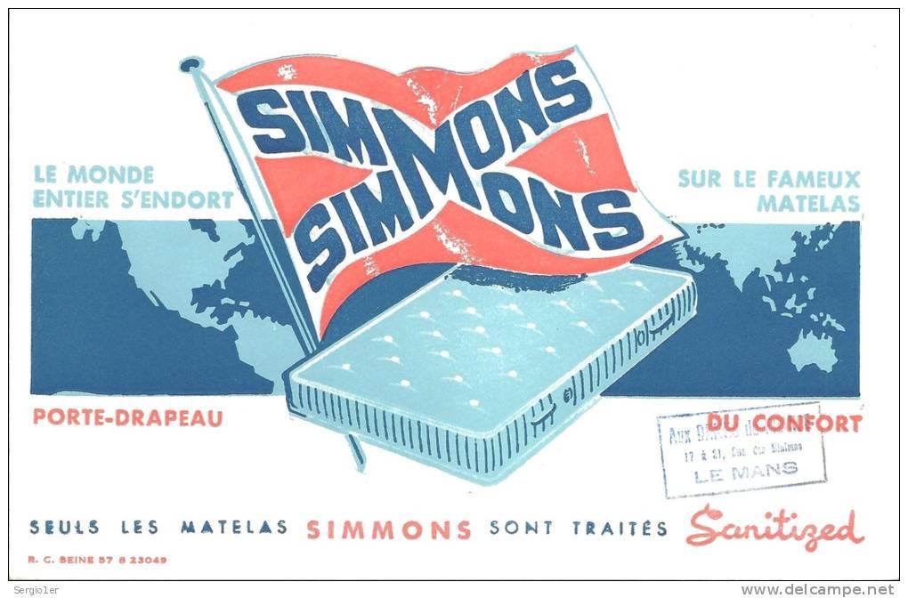 Buvard Silmmons Le Monde S'endort Sur Le Fameux Matelas Porte Drrapeau Du Confort Cachet Aux Dames . .. Le Mans 72 - M