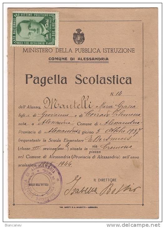 PAGELLA SCOLASTICA ANNO 1946 - Diplomi E Pagelle