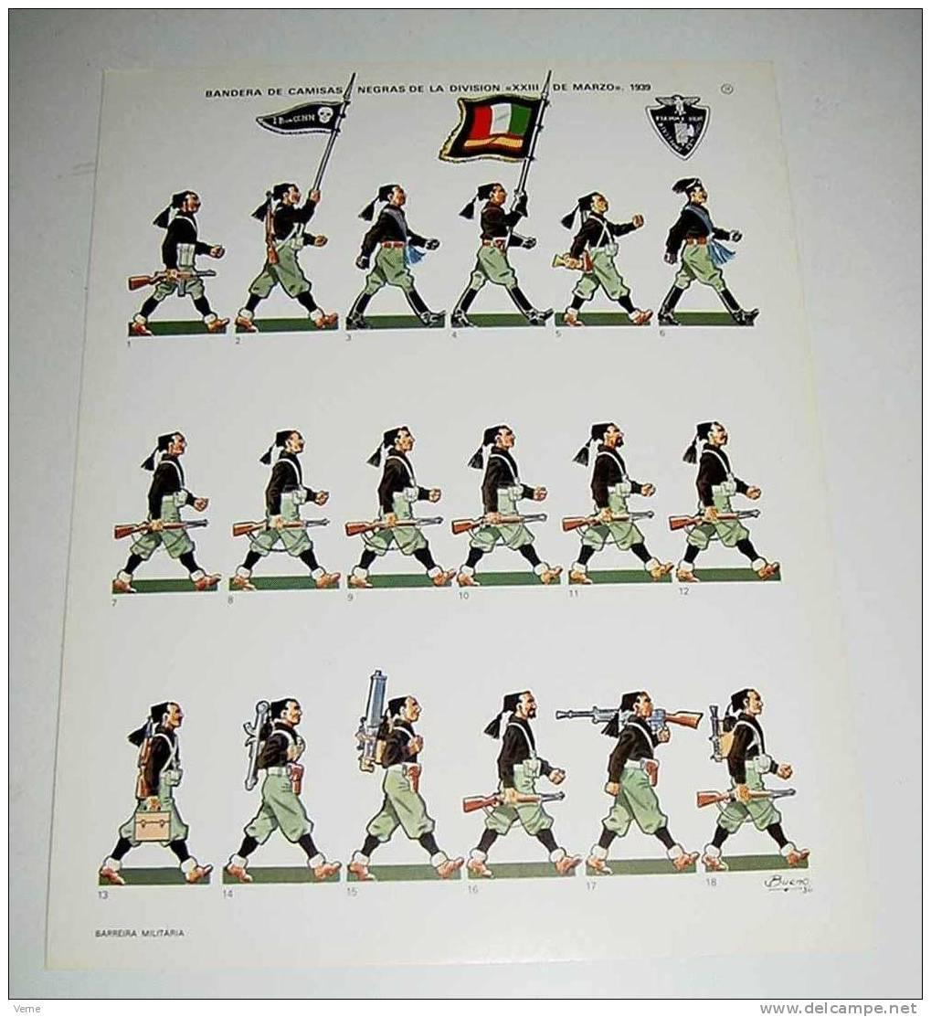 ANTIGUO RECORTABLE DE LA BANDERA DE CAMISAS NEGRAS DE LA DIVISION (XXIII DE MARZO) 1939, GUERRA CIVIL, EDITADO POR BARRE - Militares