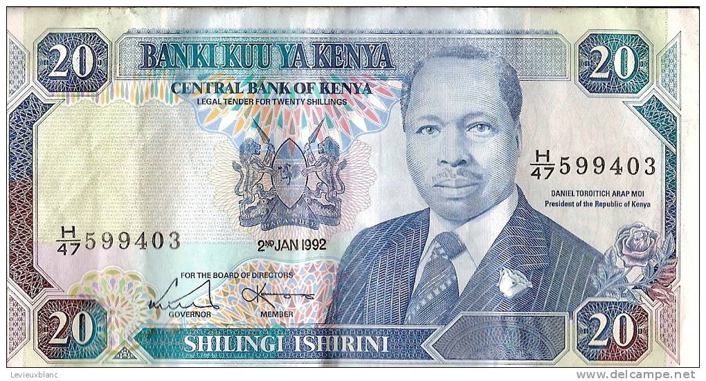 Kenya/ Billet De 20 Shillingi Ishirini/ Daniel TOROITICH/1992               BIL79 - Monnaies & Billets