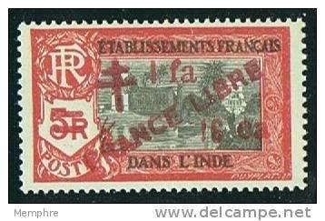 INDE ßurcharge «Croix De Lorraine Et FRANCE LIBRE»  Et 1fa 16 Ca Maury  259  ** - Inde (1892-1954)