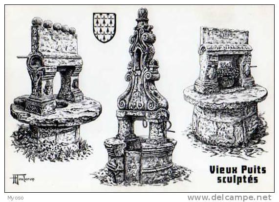 56 Environs De BAUD VANNES MELRAND Anciens Puits Sculptes, Illlustrateur Houleron - Baud