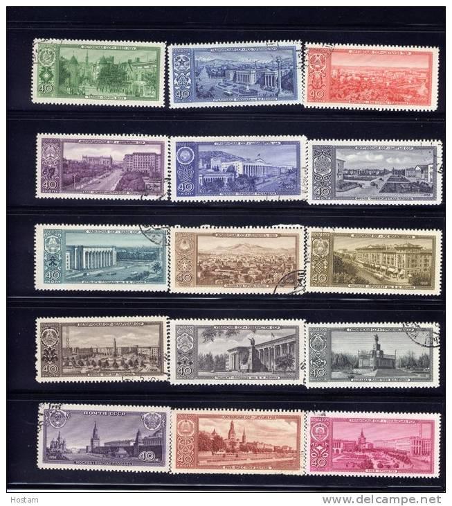 RUSSIA, 1958, CTO´s # 2120-34. CAPITALS OF SOVIET REPUBLICS - Oblitérés