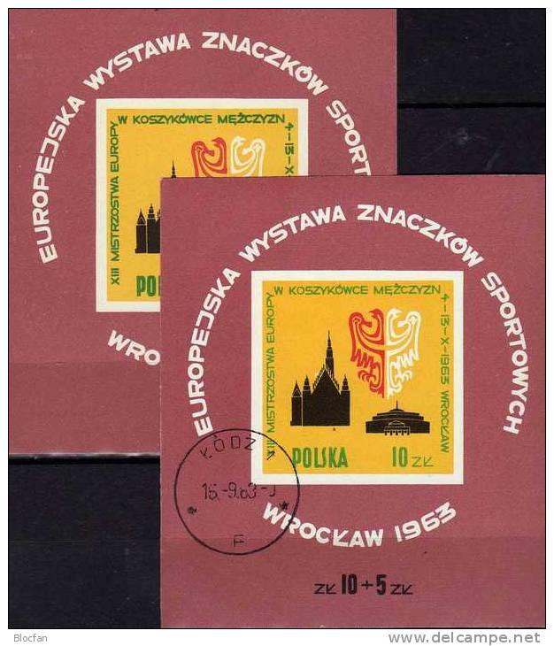 Europa-Meisterschaft Basketball Wroclaw 1963 Polen Block 30 ** Plus O 5€ Rathaus Breslau Sport Wap Bloc Sheet Bf POLSKA - Blocks & Sheetlets & Panes