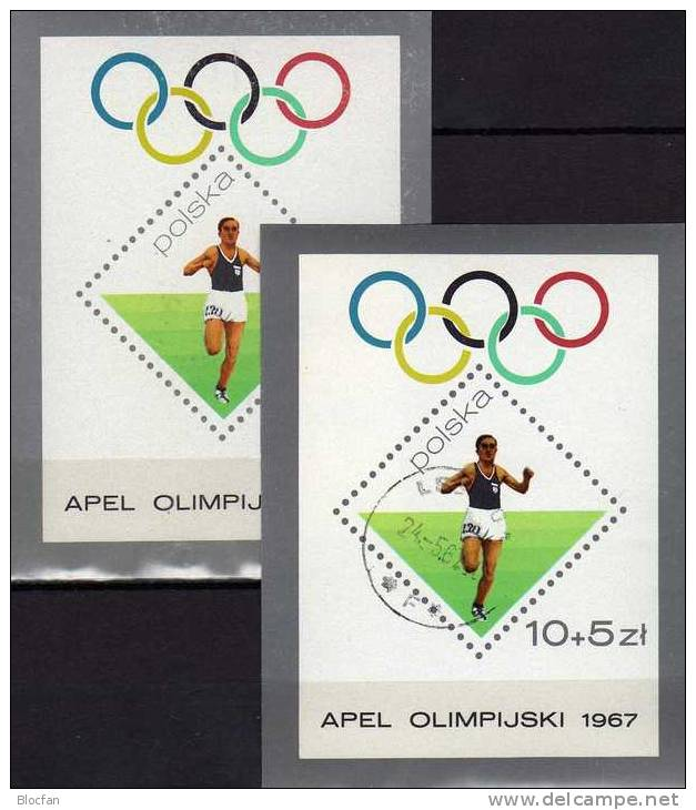 Sommer-Olympia Mexico 1968 Polen Block 40 ** Plus O 6€ Sieger 10.000 M Lauf Los Angeles Bf Sport Olympic Sheet Of Polska - Blocks & Sheetlets & Panes