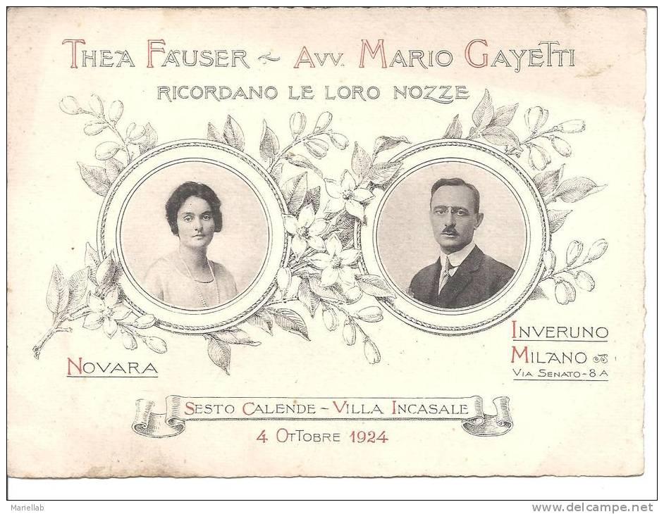SESTO CALENDE ,VILLA INCASALE 1924,THEA FAUSER E AVV.MARIO GAYETTI RICORDANO LLE LORO NOZZE-A.M- - Boda