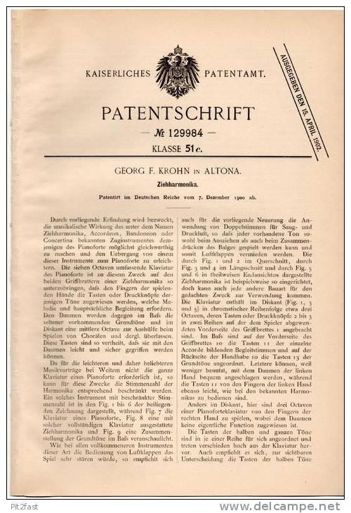 Original Patentschrift -G. Krohn In Altona , 1900 , Zieharmonika , Akkordeon !!! - Musikinstrumente