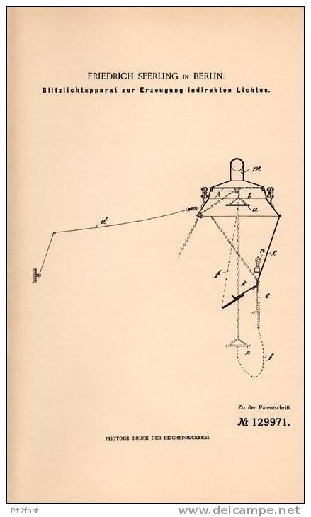 Original Patentschrift - F. Sperling In Berlin , 1900 , Apparat Für Blitzlicht , Blitz , Photographie !!! - Zubehör & Material