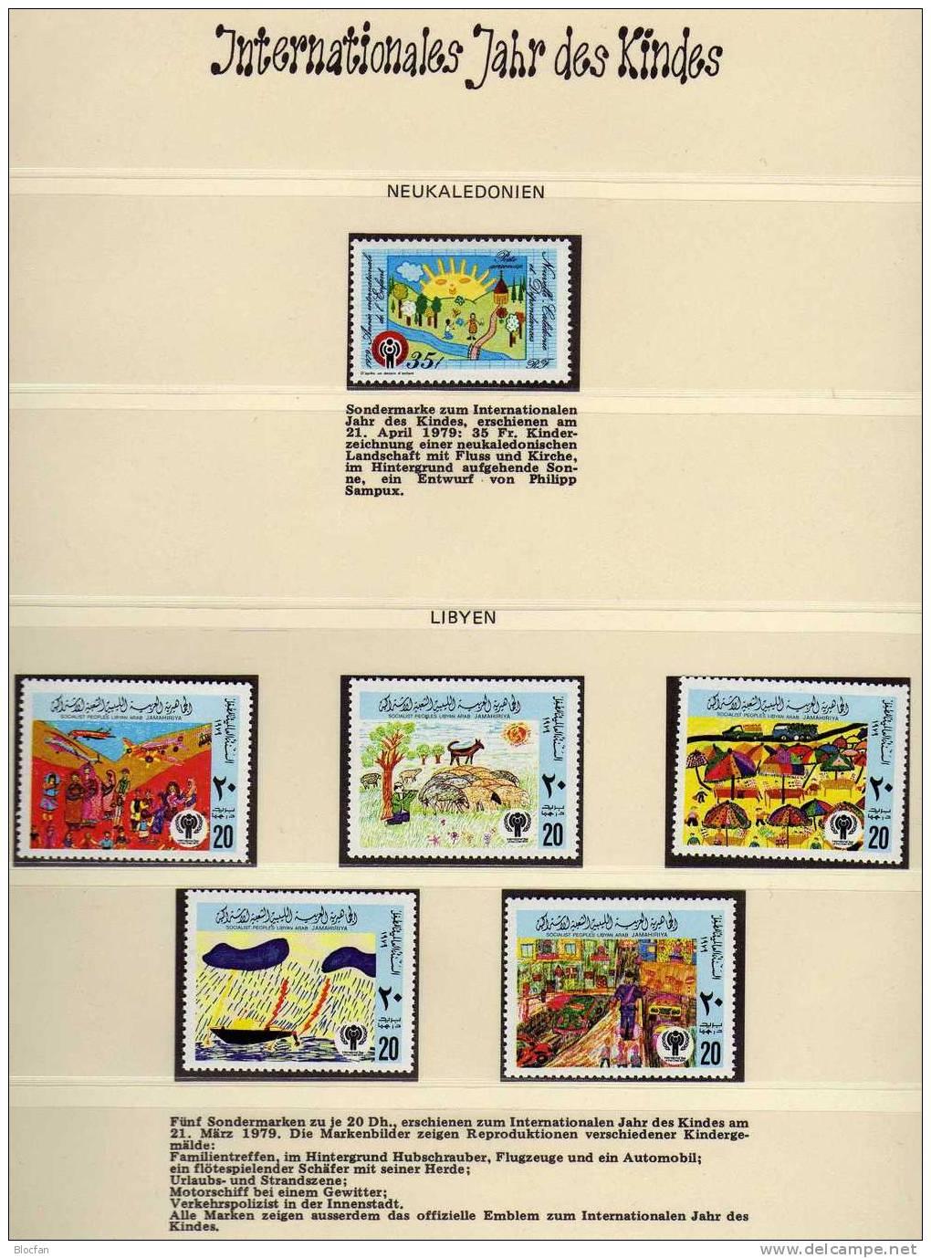 Jahr Des Kindes 1979 Zeichnungen Libyen 717/1 Neukaledonien 626 ** 5€ Kinder Am Strand Boot Regen UNICEF Stamp Of Africa - Libye