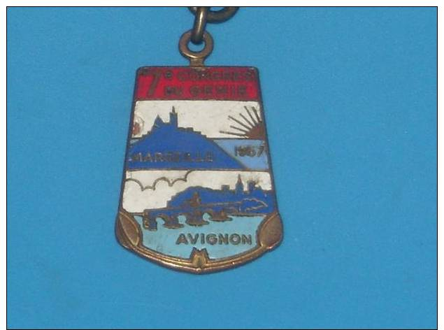 Medaille Porte Clef Emaillee Militaire 7 Eme Congres Du Genie Marseille Avignon - France