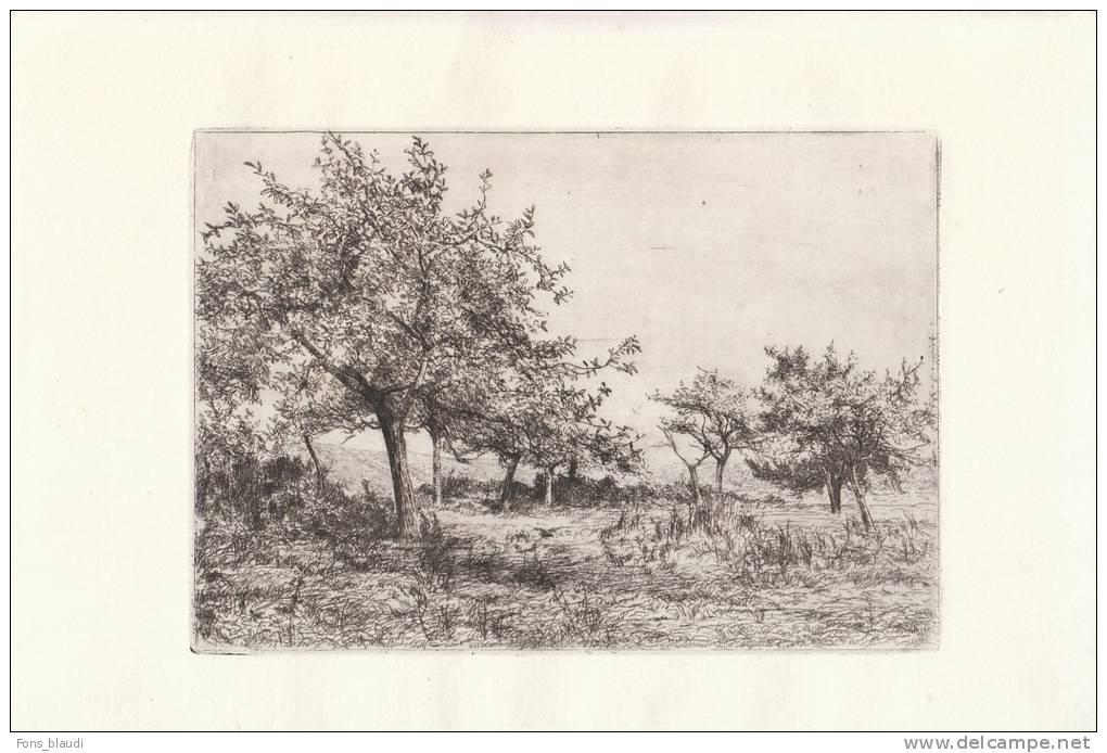 Léon Le Goaebe De Bellée [Ploërmel (Morbihan) 1846 - Paris 1891] - Paysage Normand - Eau-forte Originale Vers 1870 - Estampes & Gravures