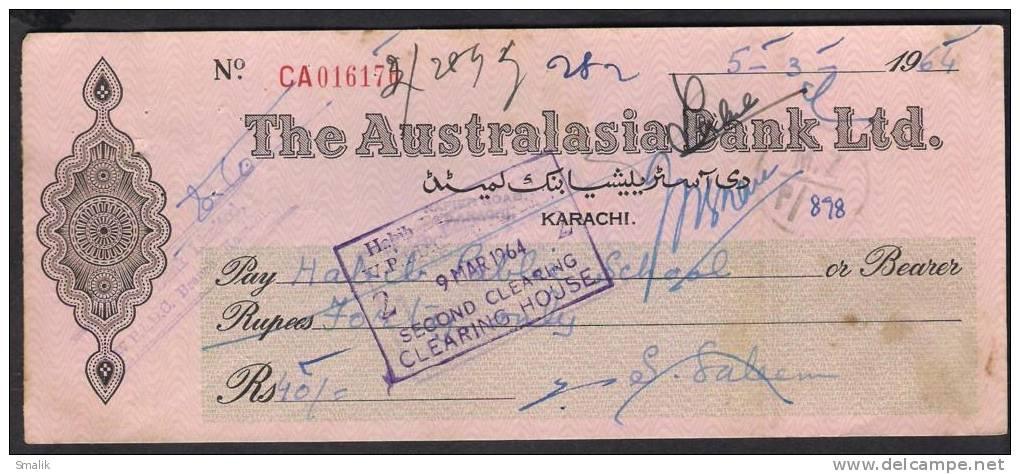 PAKISTAN Cheque The Australasia Bank Ltd. Napier Road Karachi 5-3-1964 - Bank & Insurance