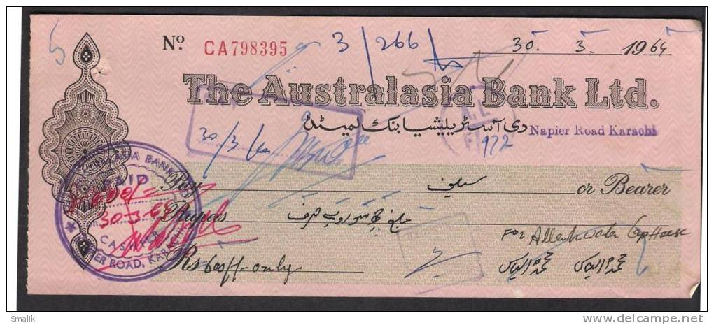 PAKISTAN Cheque The Australasia Bank Ltd. Napier Road Karachi 30-3-1964 - Bank & Insurance