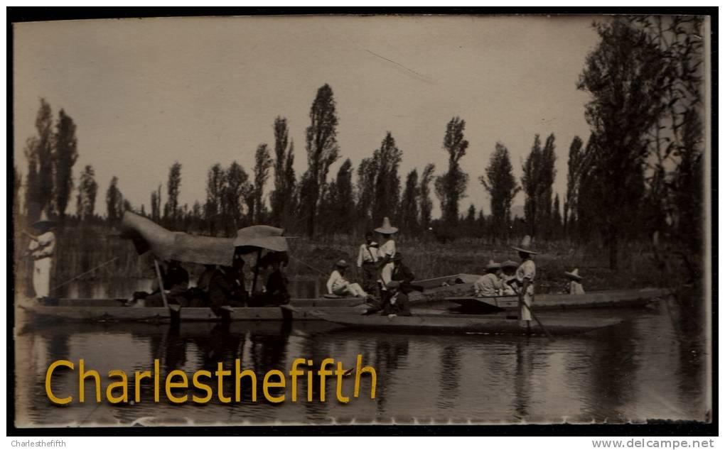 1908 !! SUPERB OLD PHOTO CARD * MEXICO * XOCHIMILCO - PROMENADE EN CANOT - Mexique