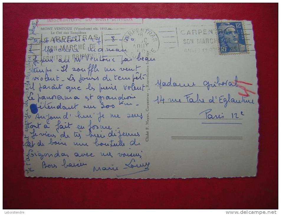 CPSM 84  MONT VENTOUX  LE COL DES TEMPETES  VOYAGEE 1950 - France