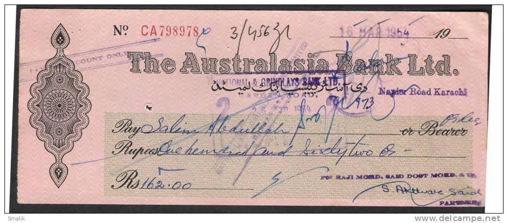 PAKISTAN Cheque The Australasia Bank Ltd. Napier Road Karachi 16-3-1964 - Bank & Insurance