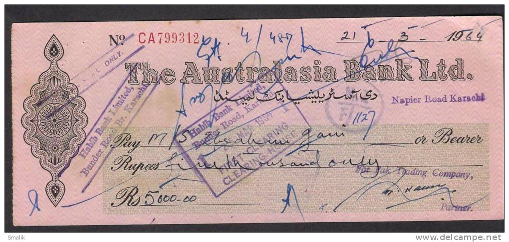 PAKISTAN Cheque The Australasia Bank Ltd. Napier Road Karachi 21-3-1964 - Bank & Insurance