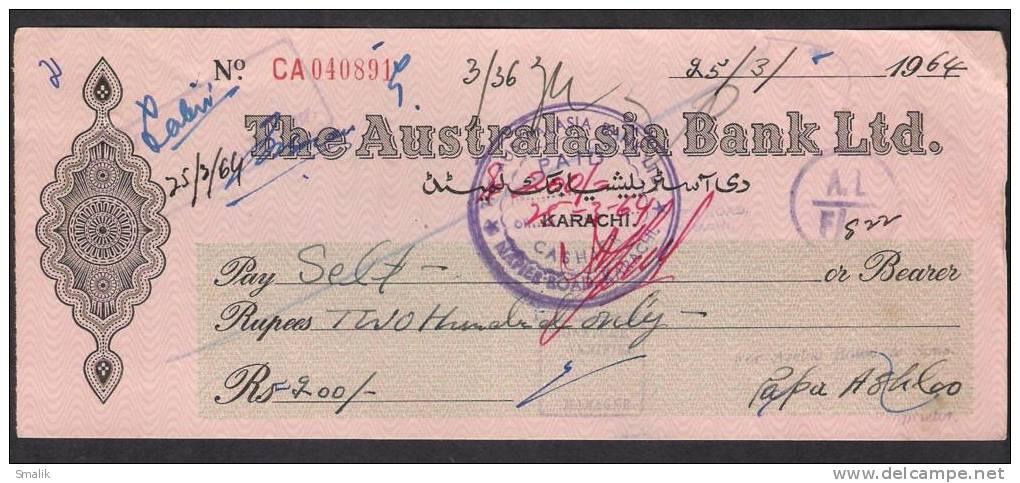 PAKISTAN Cheque The Australasia Bank Ltd. Napier Road Karachi 25-3-1964 - Bank & Insurance