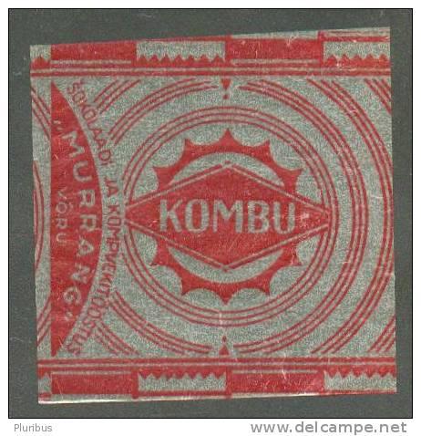 ESTONIA , PRE WW II    CANDY  WRAPPER  KOMBU - Chocolat