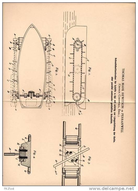 Original Patentschrift - T. Hewiston In Perranwell , 1902 , Schaufelkettentreiber Für Schiffe , Schiff !!! - Boats