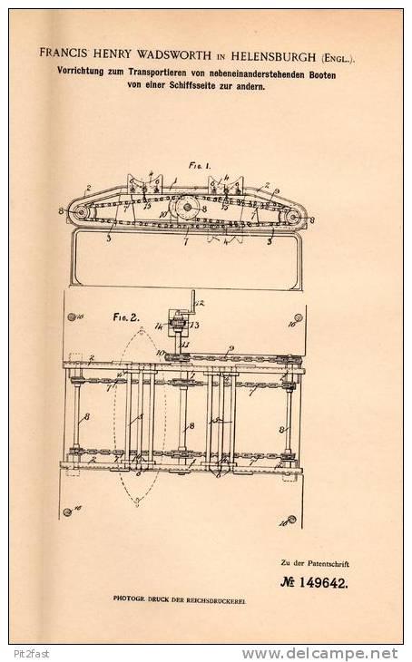 Original Patentschrift - F. Wadsworth In Helensburgh , 1902 , Transportapparat Für Schiffe , Boote !!! - Boats