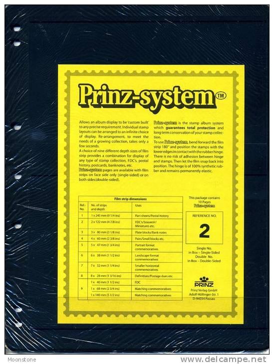 Prinz Single Side Stocksheets, 2 Strips Per Page, Pack Of 10 - Stockbooks