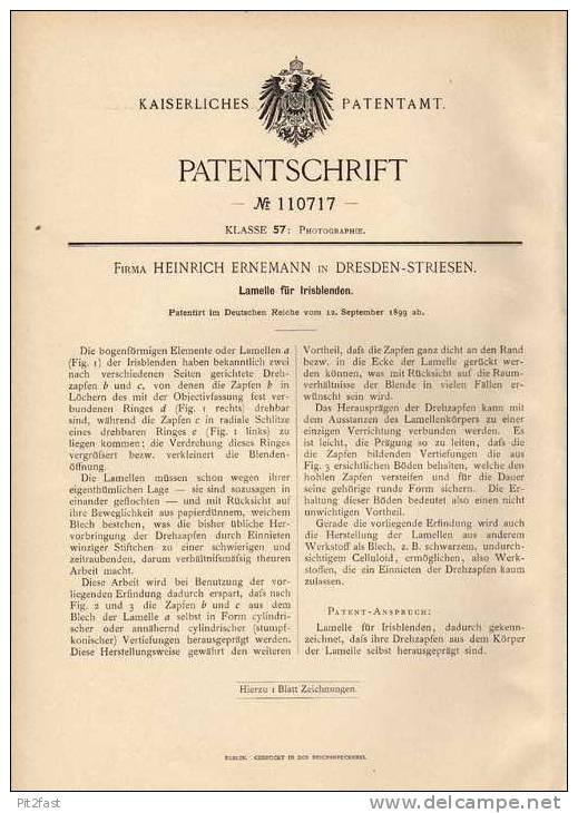 Original Patentschrift - Fa. H. Ernemann In Dresden - Striesen , 1899 , Lamelle Für Irisblenden !!! - Prismen