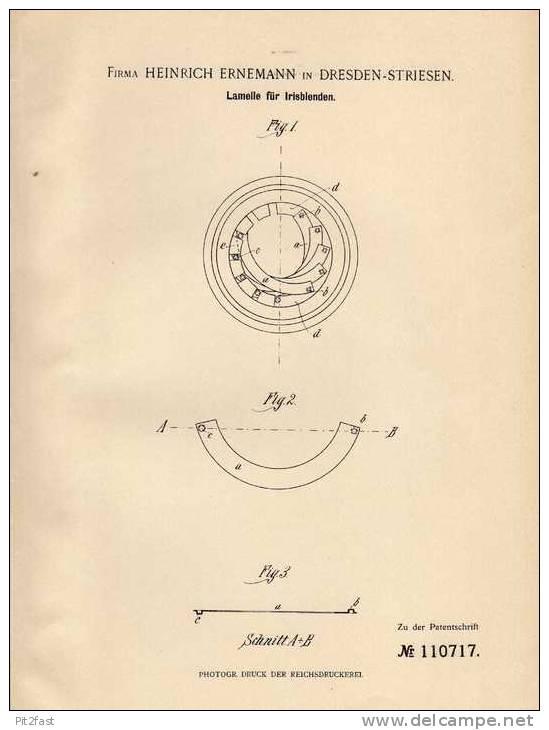 Original Patentschrift - Fa. H. Ernemann In Dresden - Striesen , 1899 , Lamelle Für Irisblenden !!! - Prisma's