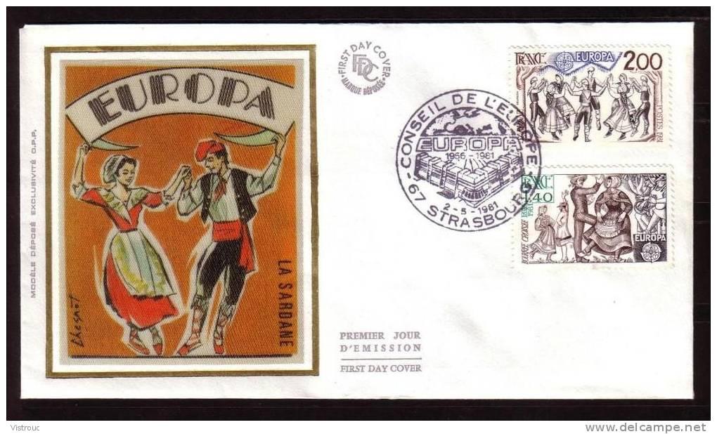 Y/T N° 2138/39 Sur  FDC Sur SOIE - Oblit 1 Ier Jour  STRASBOURG  2/5/81 - EUROPA 81 - Folklore - Danses. - 1980-1989