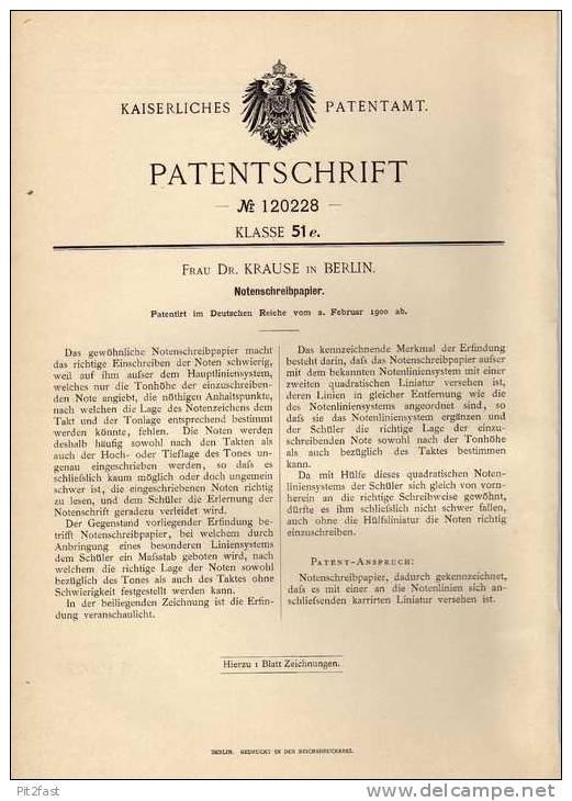 Original Patentschrift - Schreibpapier Für Noten , 1900 , Dr. Krause In Berlin , Musik , Komponist , Komposition !!! - Unterrichtswerke
