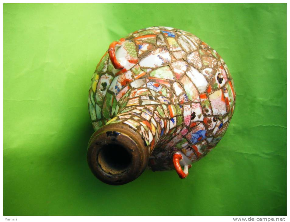 Bouteille En Terre -cloisonnee-1 Anse A Ete Recollee-- Hauteur 20cm Avec 2 Anses-travail D´un Patient- - Art Asiatique