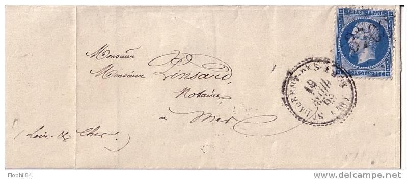 LOIR ET CHER - ST LAURENT DES EAUX 19-4-1863 - N°22 OBLITERATION GC3708 - INDICE 14 COTE140€. - Postmark Collection (Covers)