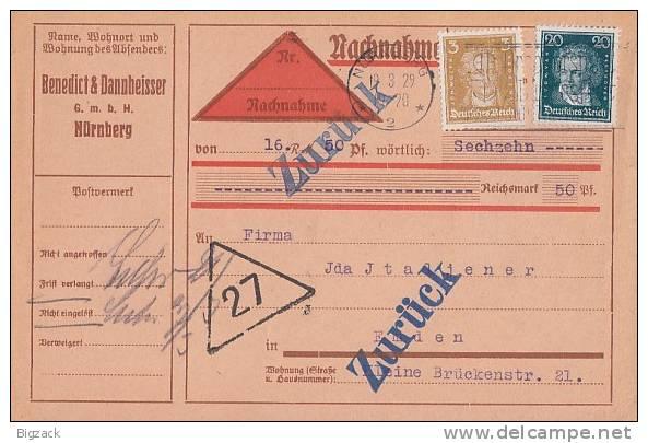 DR NN-Karte Mif Minr.386,392 Nürnberg 19.3.29 Zurück - Briefe U. Dokumente