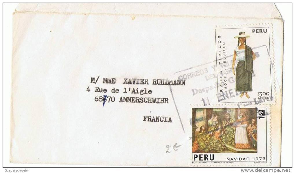 L-DIV14 - PEROU Petite Lettre Ft Carte De Visite Pour La France De 1973 - Peru