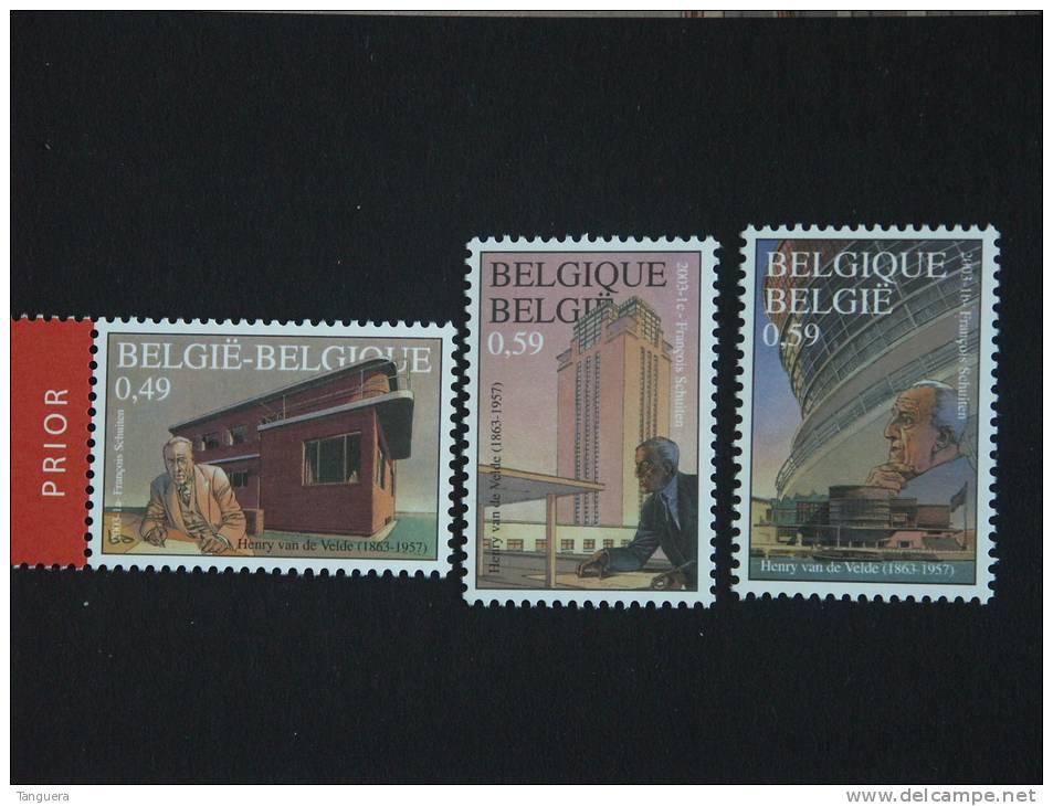 België Belgique 2003 Oeuvres De Henry Van De Velde Architecte Ontwerpen Cob 3146-3148 Yv 3199-3141 MNH ** - Belgien