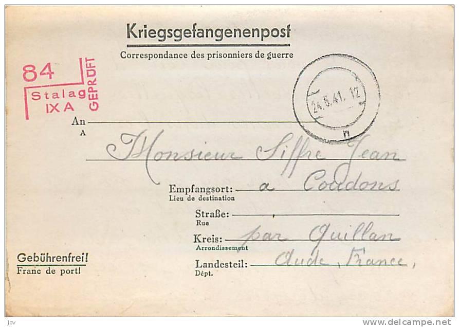 CORRESPONDANCE PRISONNIERS DE GUERRE : STALAG IX A , CACHET DE CONTROLE N°84 . - War 1939-45