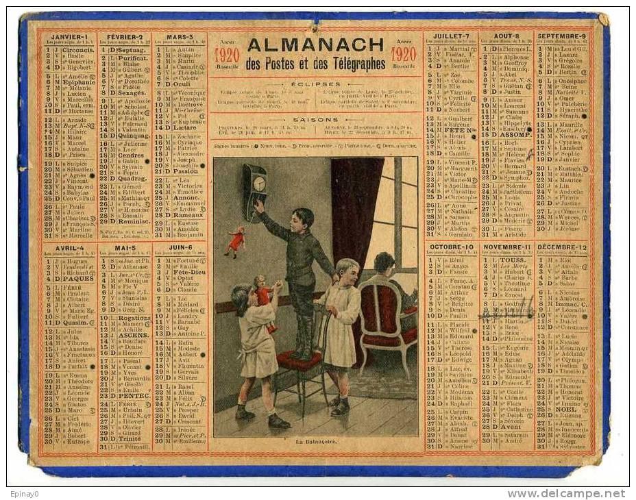 CALENDRIER - ALMANACH DES POSTES ET DES TELEGRAPHES 1920 - ENFANT - BALANCOIRE - HORLOGE - POUPEE - Calendari