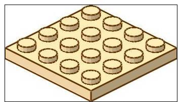 Lego 3031 Plaque - Plat 4 X 4  Tan / Beige - Lego System