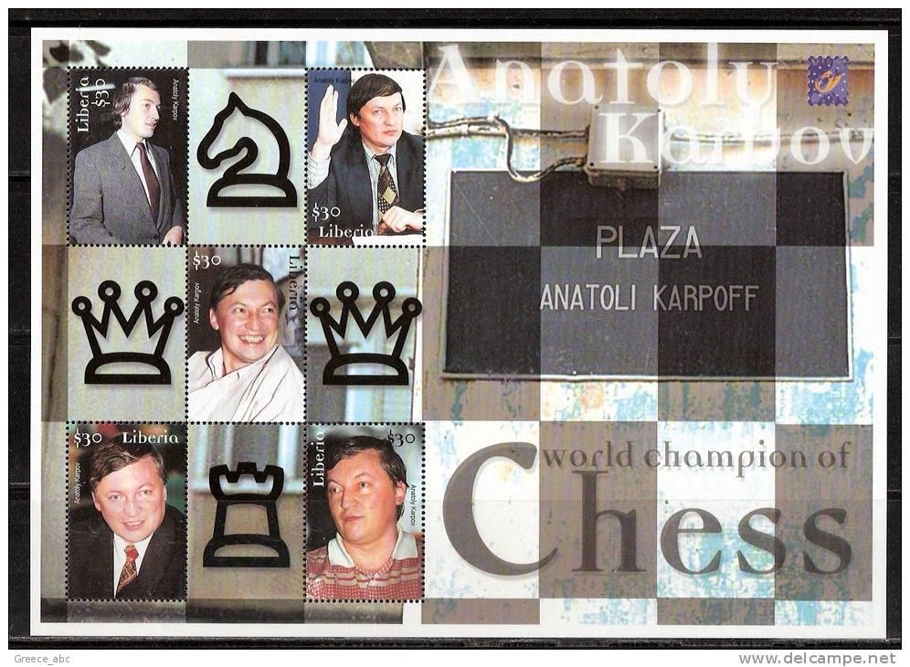 Liberia 2001 / Mi 3587/3607 - Chess , Anatoly Karpov - 3 Mini Sheets , Set New MNH ** - Liberia