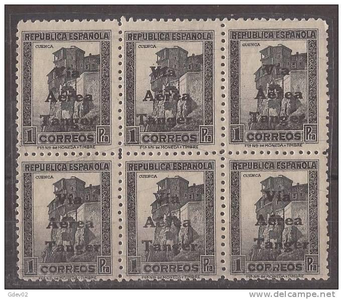 TA138-4065TARO. Maroc.Marocco.Cuenca.TANG ER ESPAÑOL SELLOS DE ESPAÑA AEREA 1938 (Ed 138**BL6) Sin Charnela LUJO RARO - Otros